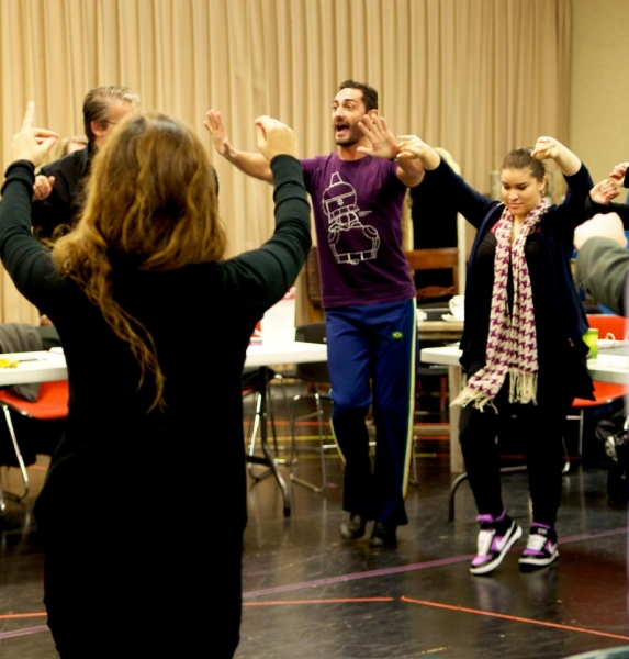 Flamenco Consultant Saulo Garrido leads the cast on the first day of rehearsals for ZORRO