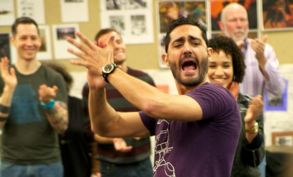 Flamenco Consultant Saulo Garrido leads the cast on the first day of rehearsals for ZORRO.