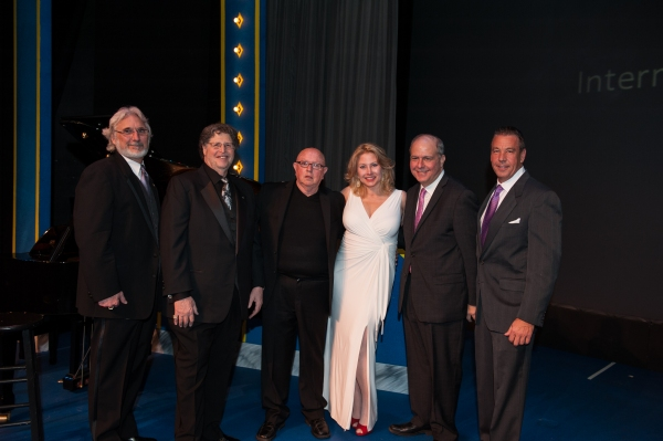 Auctioneer Jeff Cadorette, Board Chair Perry Ecksel, Artistic Director Jesse Cline, Gala Chair Carole Roberts, and 2013 Honorees Jed Bernstein (Producing Director of Bucks County Playhouse) and Robert Mormile (VT Group).