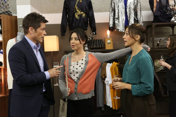 """PARKS AND RECREATION -- """"Bailout"""" Episode 515 -- Pictured: (l-r) Rob Lowe as Chris Traeger, Aubrey Plaza as April Ludgate, Rashida Jones as Ann Perkins -- (Photo by: Danny Feld/NBC)"""