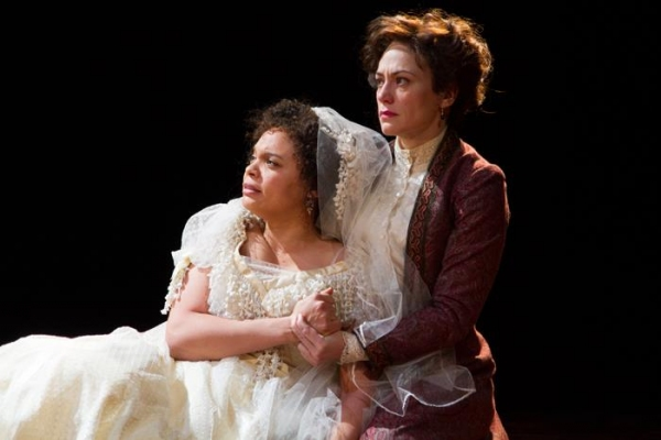 Beatrice (Maggie Siff) comforts Hero (Michelle Beck). Photo by Henry Grossman.