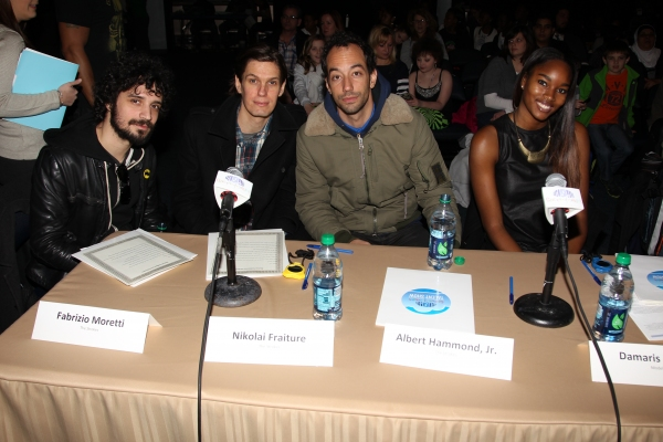 The Strokes' Fabrizio Moretti, Nikolai Fraiture and Albert Hammond Jr. joined model Damaris Lewis at the mentors table for the 2013 Garden of Dreams Talent Show Auditions.