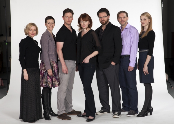 The cast of A Doll's House: (from left) Nisi Sturgis, Amanda Naughton, Fred Arsenault, Gretchen Hall, Richard Baird, Jack Koenig and Katie Whalley