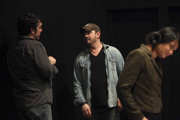 From left, Mark Bennett, Casting Director; Plawright Daniel Talbott and Lorely Trinidad, Assistant Stage Manager