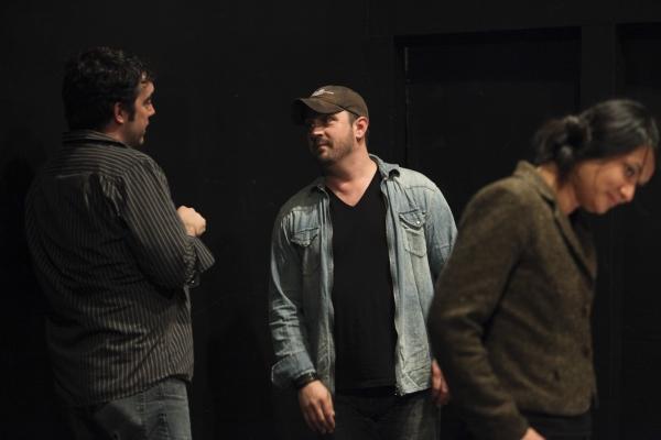 From left, Mark Bennett, Casting Director; Plawright Daniel Talbott and Lorely Trinid Photo