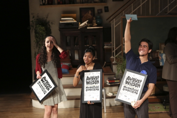 The top three student finalists Eliana Pipes, Rhyver White and Pablo Lopez accept there awards during the August Wilson Monologue Competition Regional Finals at the Center Theatre GroupMark Taper Forum on Monday, March 4, 2013 in Los Angeles, Calif.