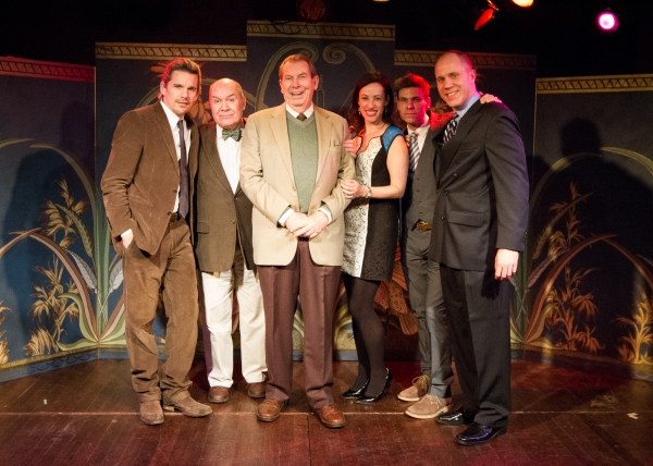 Richard Easton, the honoree Epic Theatre Ensemble's 2013 Remix: Mix-It-Up with Epic Gala, surrounded by friends, colleagues and former students, (from l. to r.) Ethan Hawke, Jack O'Brien, Richard Easton, Epic Artistic Director Melissa Friedman, Aaron Kr