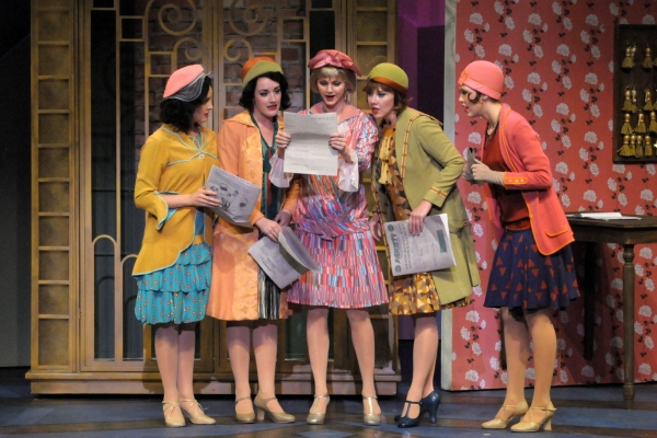 From left to right: Carleigh Bettiol, Amy Van Norstrand, Leslie Donna Flesner, Kelly Skidmore and Colleen Broome in Thoroughly Modern Millie, onstage through March 24 at the Maltz Jupiter Theatre. Photo by Alicia Donelan.