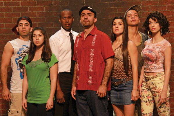 Rayner G. Garranchan (Sonny), Sarah Amengual (Nina),  Marcus Paul James (Benny), Nick Duckart (Usnavi), Christie Prades (Vanessa),  Jose-Luis Lopez (Graffiti Pete) and Alicia Taylor Tomasko (Carla) in Actors' Playhouse's production of In the Heights.