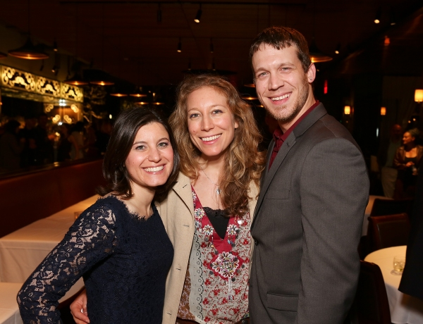 Cast member Susan Pourfar, playwright Nina Raine and cast member Russell Harvard