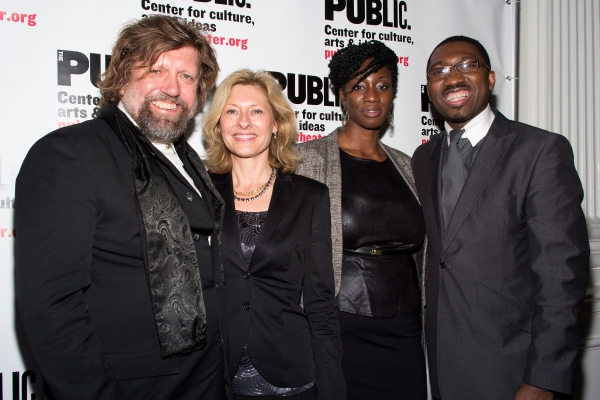 Oskar Eustis, Laurie Eustis, Kwame Kwei-Armah and guest