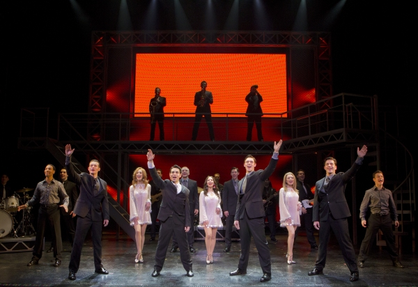 (l to r) Colby Foytik, Brad Weinstock, Jason Kappus, Brandon Andrus and the Company of JERSEY BOYS