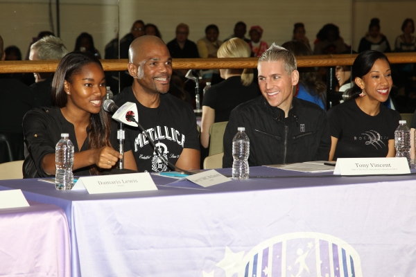 Model Damaris Lewis joined Run DMCâ€s Darryl McDaniels, Broadway star Tony Vincent and The Rockettes at the mentors table for the 2013 Garden of Dreams Talent Show Rehearsals.