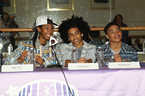 Ray Ray, Princeton and Roc Royal of Mindless Behavior mentor children from the Garden of Dreams Foundation.