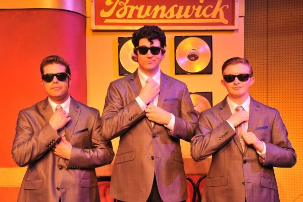 Ralph Krumins as Buddy Holly (center), drummer Joaquin David (right) and bassist Skeez Nava (left)