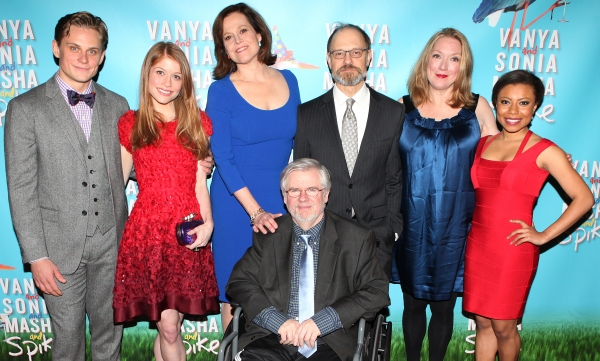 Billy Magnussen, Genevieve Angelson, Sigourney Weaver, playwright Christopher Durang, David Hyde Pierce, Kristine Nielsen, and Shalita Grant