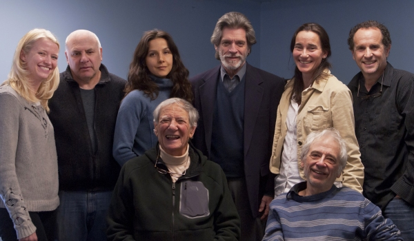 The company of THE LAST WILL (pictured l-r; standing): ChristiAnna Nelson, David Wohl, Merritt Janson, Peter Cameron, Stephanie Roth Haberle, and Jeremiah Kissel; (pictured, l-r, seated): Robert Brustein and Austin Pendleton.