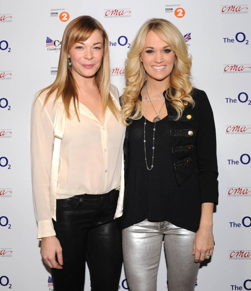 LeAnn Rimes and Carrie Underwood at Country to Country concert at The O2 Arena, London (Photo by Brian RasicRex USA)