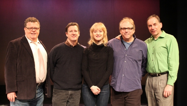 "Erin Davie (center) with the creative team of York Theatre Company's Musicals in Mufti production of �""Silk Stockings"": James Morgan (York Producing Artistic Director), David Snyder (Music Director), Stuart Ross (Director) and Andrew Lev"