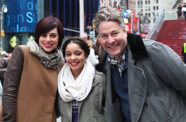 Krysta Rodriguez and Timothy Allen McDonald with a student from Leadership and Public Service High School 90