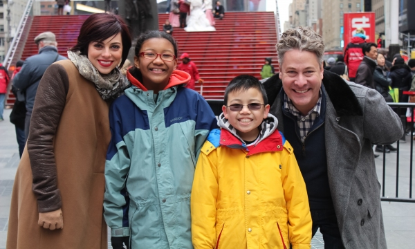 Krysta Rodriguez and Timothy Allen McDonald with students from PS 124, The Yung Wing Elementary