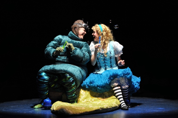 Sophie Grimm as The Caterpillar and Emily Rohm as Alice