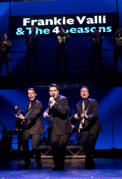 (l to r) Wes Hart, Brad Weinstock, Brent DiRoma and the Company of JERSEY BOYS