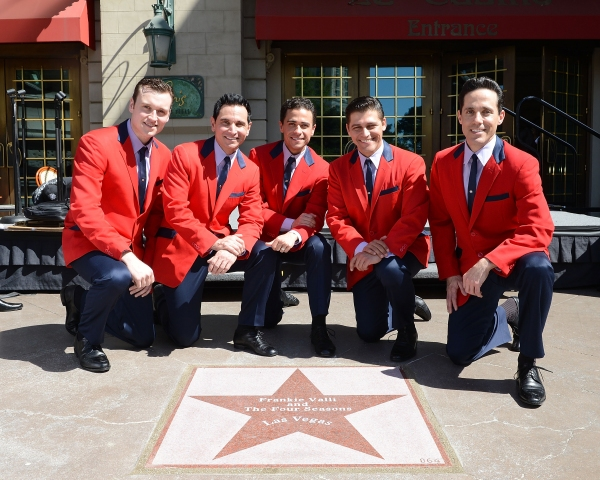 The cast of Jersey Boys (L-R) Rob Marnell, Travis Cloer, Graham Fenton, Deven May and Jeff Leibow