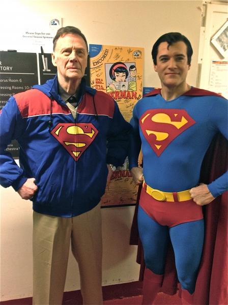Two Supermen: Bob Holiday, the original Broadway Superman, with Edward Watts, Encores! Superman