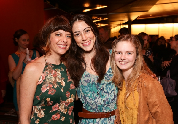 Playwright Jennifer Haley poses with cast members Jeanne Syquia and Brighid Fleming