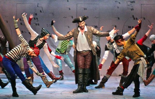 Nick Cordero (center, Pirate King) with Pirates (Daniel Bontempo, Max Cove, Michael Gamache, Michael Hogan, Peter Perry Lam)