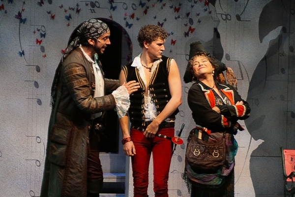 Nick Cordero (Pirate King), Patrick Dunn (Frederic) and April Woodall (Ruth)