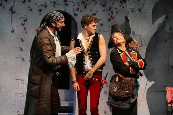 Nick Cordero (Pirate King), Patrick Dunn (Frederic) and April Woodall (Ruth) Photo