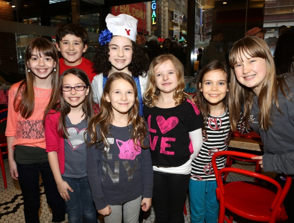 Lilla Crawford with Ava DeMary, Jack Broderick, Bailey Ryan, Sophia Gennusa, Crawford, Milly Shapiro, Oona Laurence & Emma Howard