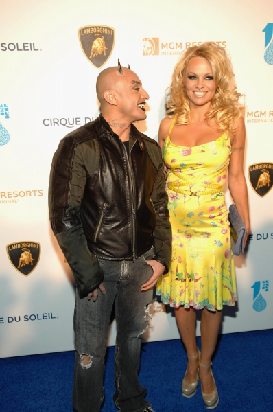 Performer Jesus Villa and actress Pam Anderson Photo