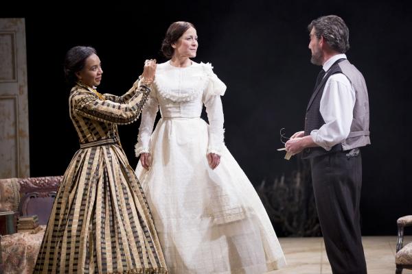 Sameerah Luqmaan-Harris as Elizabeth Keckly, Naomi Jacobson as Mary Todd Lincoln and Thomas Adrian Simpson as Abraham Lincoln