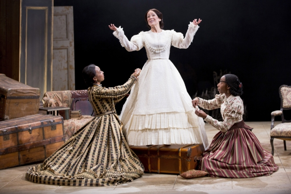 Sameerah Luqmaan-Harris as Elizabeth Keckly, Naomi Jacobson as Mary Todd Lincoln and Joy Jones as Ivy in Arena Stage