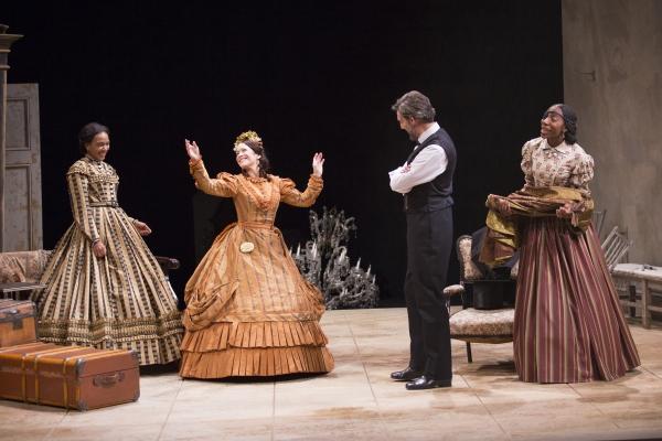 Sameerah Luqmaan-Harris as Elizabeth Keckly, Naomi Jacobson as Mary Todd Lincoln, Thomas Adrian Simpson as Abraham Lincoln and Joy Jones as Ivy