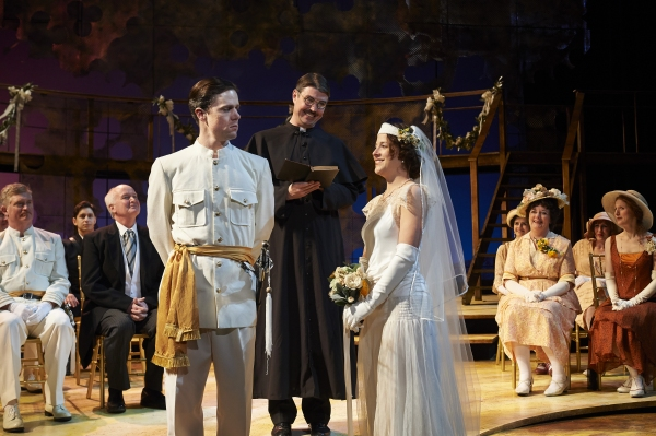 Neil Brookshire (left, as Claudio) suspiciously eyes his bride-to-be, actor Betsy Mugavero (as Hero) as an unsuspecting adjudicator, actor Eric Damon Smith (center, as Friar Francis) watches on.
