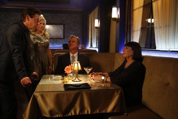 Christian Borle, Megan Hilty, Jamey Sheridan, Anjelica Huston Photo