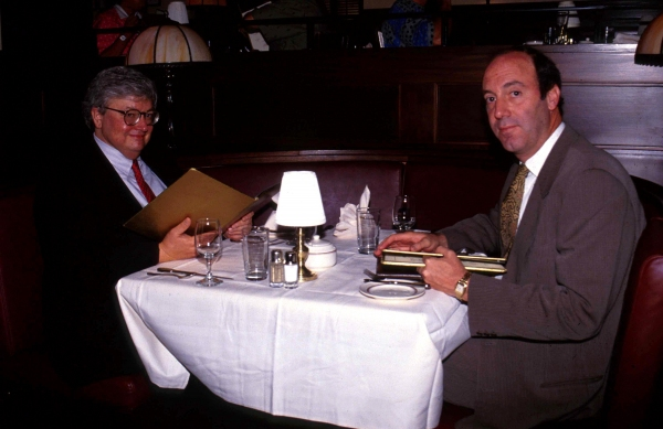 Roger Ebert & Gene Siskel dinning at the Brown Derby Restaurant, Walt Disney World, Florida in 1990