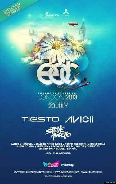 Electric Daisy Carnival Heading to London with Tiesto, AVICII & More, 7/20
