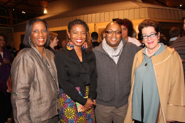 A guest with playwright Katori Hall, director Robert O'Hara and Artistic Director Molly Smith