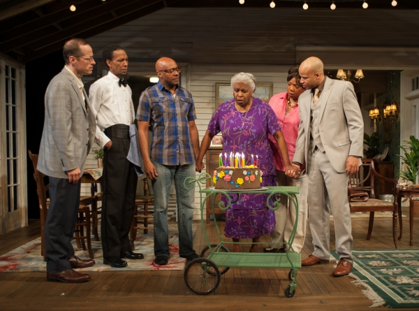 Shelah, (Cheryl Lynn Bruce) celebrates her birthday with (left to right) Dr. Anderson (ensemble member Tim Hopper), Creaker (Ron Cephas Jones), Spencer (James T. Alfred), Mae (Jacqueline Williams) and Aubrey (Glenn Davis)