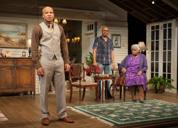 Aubrey (Glenn Davis) and Spencer (James T. Alfred) talk with their mother, Shelah, (Cheryl Lynn Bruce)