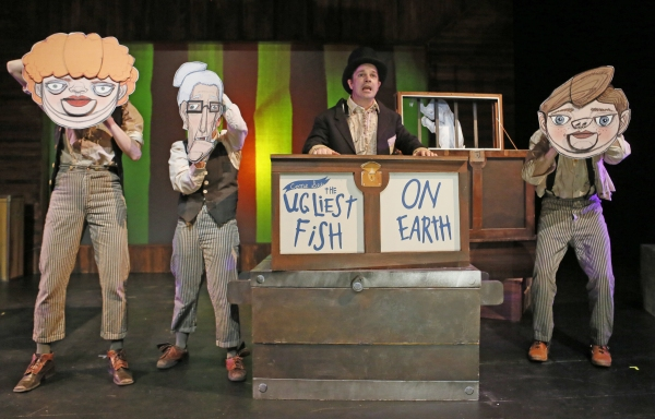 David Catlin (centerstage) is the narrator, flanked by (from left) Kasey Foster, Becky Poole and Kurt Brocker in puppet disguises