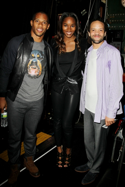 NY Giants wide receiver Victor Cruz with Sports Illustrated swimsuit model Damaris Lewis and tap dancer and Tony award winning choreographer, Savion Glover