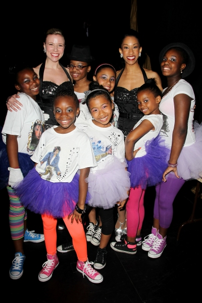Performers from 'Uniquely Made' of Children's Aid Society with Rockettes Tara Dunleavy (L) and Karilyn Surratt