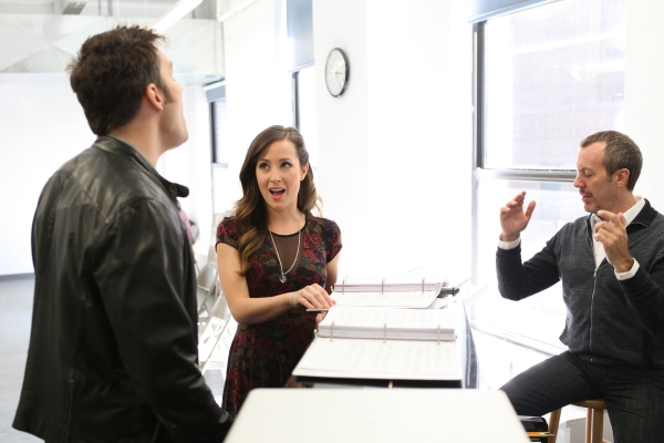 Ryan Silverman and Hannah Elless with Musical Director Patrick Vaccariello
