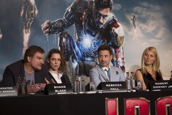 Shane Black, Rebecca Hall, Robert Downey Jr., Gwyneth Paltrow